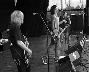 Bad Religion - Brian Baker (left) with Bad Religion, live in the Netherlands, 1995.