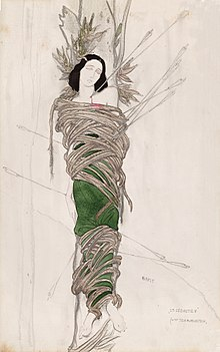 イダ演じる『聖セバスティアンの殉教』のためにバクストがデザインした衣裳... イダ・ルビンシュタ