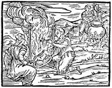 Heksen bezig met baby´s te koken om aldus vliegzalf te bereiden.