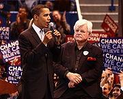 Barack Obama and Ted Kennedy in Hartford, February 4, 2008