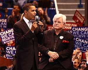 Barack Obama presidential primary campaign, 2008 - Obama with Ted Kennedy at a rally in Hartford, Connecticut, the day before Super Tuesday