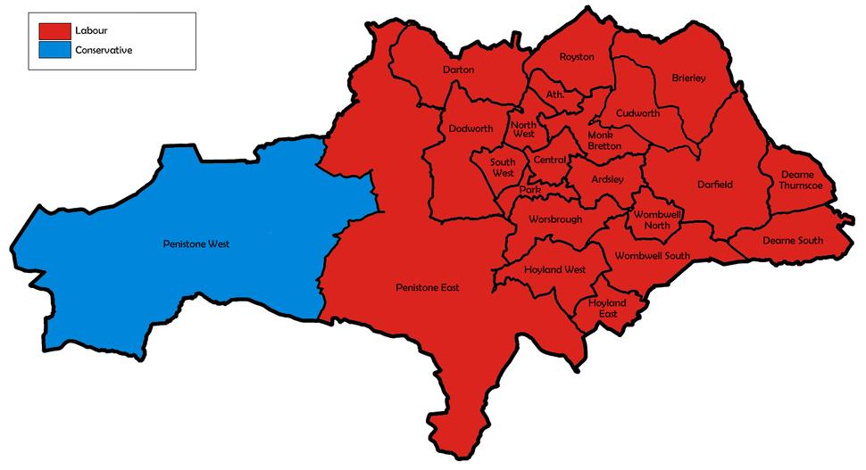 Barnsley UK local election 1992 map