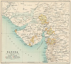 Political integration of India - The Saurashtra and Kathiawar regions of Gujarat were home to over two hundred princely states, many with non-contiguous territories, as this map of Baroda shows.