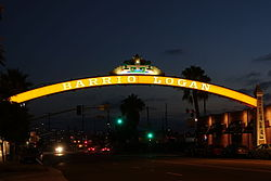 Barrio Logan neighborhood sign near corner of Cesar E. Chavez Parkway and Main Street