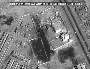 Bomb damage assessment - BDA Photo of a military cable station in Basra, Iraq