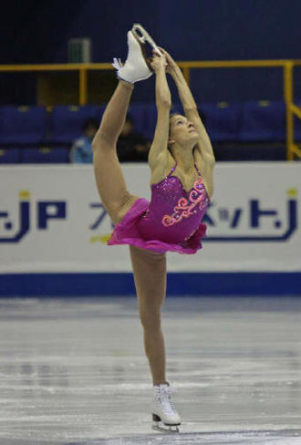 Becky Bereswill - Bereswill performs a Biellmann spin at the 2008 JGP Final.