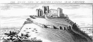 Samuel and Nathaniel Buck - Engraving of 1727 by Buck Brothers, showing Beeston Castle in Cheshire from the south