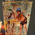 Begram Goblet Depicting Figures Harvesting Dates 1st Century C.E., Begram Room 10, painted glass made in Roman Egypt.jpg