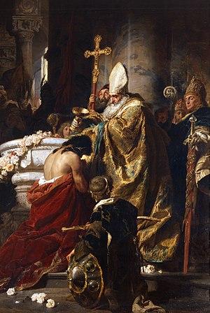 Vajk (given name) - Gyula Benczúr's painting: Baptism of Vajk