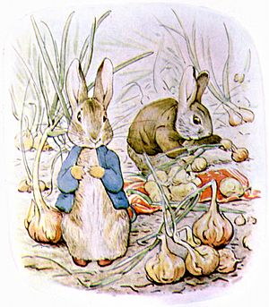 The Tale of Benjamin Bunny - Peter and Benjamin gather onions for Mrs. Rabbit