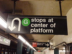 "An overhead sign at an underground ""G"" train station. The sign's text says, ""'G' stops at center of platform"". There is a U-turn arrow icon on the left side of the sign, next to the text."