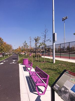 Berry Lane Park - Site of Berry Lane Park after completion; view from Garfield Avenue