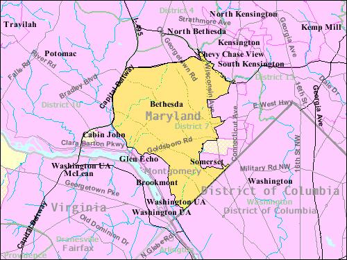 Boundaries of Bethesda CDP from U.S. Census Bureau