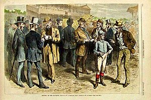 Parimutuel betting - Betting on the Favorite, an 1870 engraving