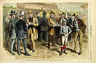 Sports betting - Betting on the Favorite, an 1870 engraving published in Harper's Weekly