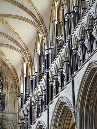 Purbeck Marble - The 13th-century south transept of Beverley Minster, richly decorated with Purbeck Marble shafts.