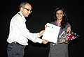Bhupendra Khaintola felicitated the Director, Ms. Arunima Sharma, at the presentation of the film, (Shyam Raat Seher), in the INOX Cinema Hall, during the IFFI-2010, in Panjim, Goa, on November 26, 2010.jpg