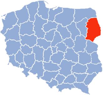 Białystok Voivodeship (1975–98) - Location of the Białystok Voivodeship (red) in the People's Republic of Poland or Third Polish Republic.
