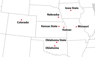 Big Eight Conference - Locations of final Big Eight Conference full member institutions, 1957–1995