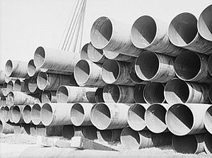 "Big Inch - 24"" Big Inch pipes delivered by rail in February 1943"