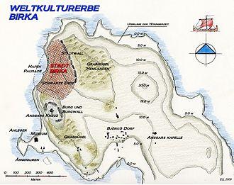 Birka - Map of Björkö and Birka today
