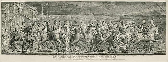 William Blake, The Canterbury Pilgrims, kopergravuere drukt op papier (sawat 1820-23).