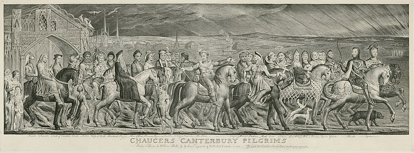 William Blake's The Canterbury Pilgrims, c. 1810-23. High illustrative value, a great example of Blake's engraving technique, and an exceptionally high quality scan