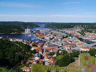 Halden - Halden as seen from the Fredriksten fortress in mid-July 2012
