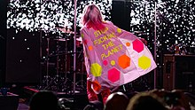 "Harry viewed onstage from the back, wearing a pink coat that reads ""STOP FUCKING THE PLANET"" in yellow"