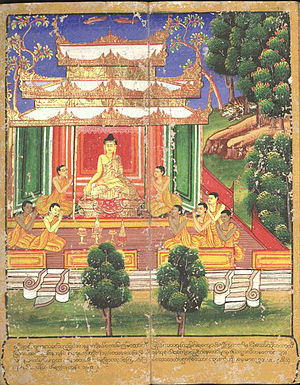 Buddhist philosophy - Gautama Buddha surrounded by followers, from an 18th-century Burmese watercolour