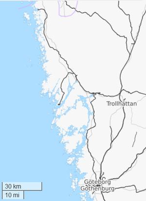 Bohus Line - Map of the Bohus line, that runs along the coast.