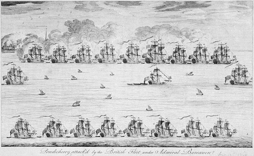 Bombardement de Pondichery en 1748 par la flotte anglaise