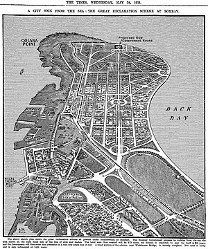 Colaba - Ambitious reclamation plans from 1912 have been only partly realised.