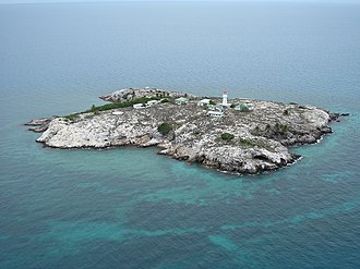Booby Island (Queensland) - An aerial view of Booby Island from the south.