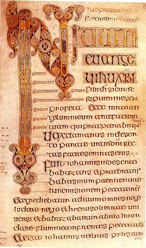 Book of Durrow - The beginning of the Gospel of Mark from the Book of Durrow.
