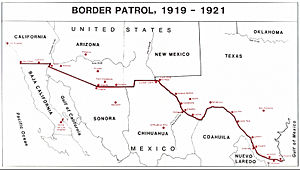 United States Army Border Air Patrol - United States Army Air Service Mexican Border Patrol Map, 1919–1921.