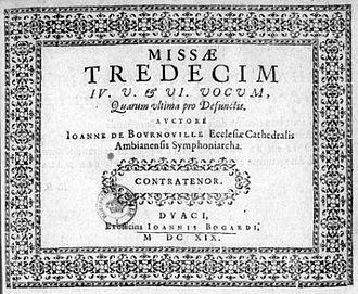 Jean de Bournonville - Title page of the Missae tredecim (Douai, 1619). Paris BNF (Mus.)
