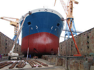 Stem (ship) - The bow of the oil/chemical tanker Bro Elizabeth in dry dock in Brest, France.  This ship does not have a stem.