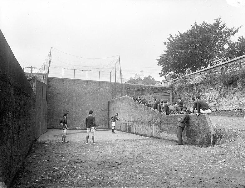 File:Boys playing handball at a handball court in Ireland in the 1930s (5774774659).jpg