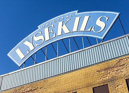 Brand sign on the closed Lysekils canned seafood factory