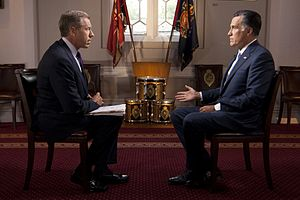 Brian Williams - Williams interviews U.S. presidential candidate Mitt Romney, July 25, 2012.