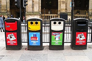 Recycling in the United Kingdom - Public recycling  bins for paper, cans, and plastics in Newcastle upon Tyne.