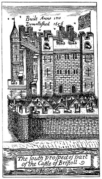 Bristol Castle - Bristol Castle from James Millerd's map of Bristol in 1673