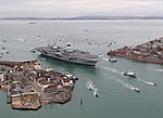 Britain's future flagship HMS Queen Elizabeth sailed into her home port of Portsmouth for the first time today. MOD 45162885.jpg