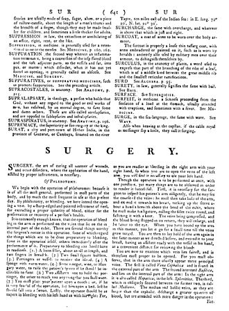 History of the Encyclopædia Britannica - A page from the first edition. The flow of short entries is interrupted here by one of the major treatises.