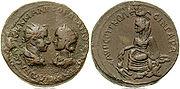 Bronze-Gordian III and Tranquillina-l1parthica-singara AE33 BMC 7