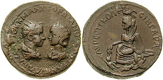 Tyche - Tyche on the reverse of this base metal coin by Gordian III, 238-244 CE