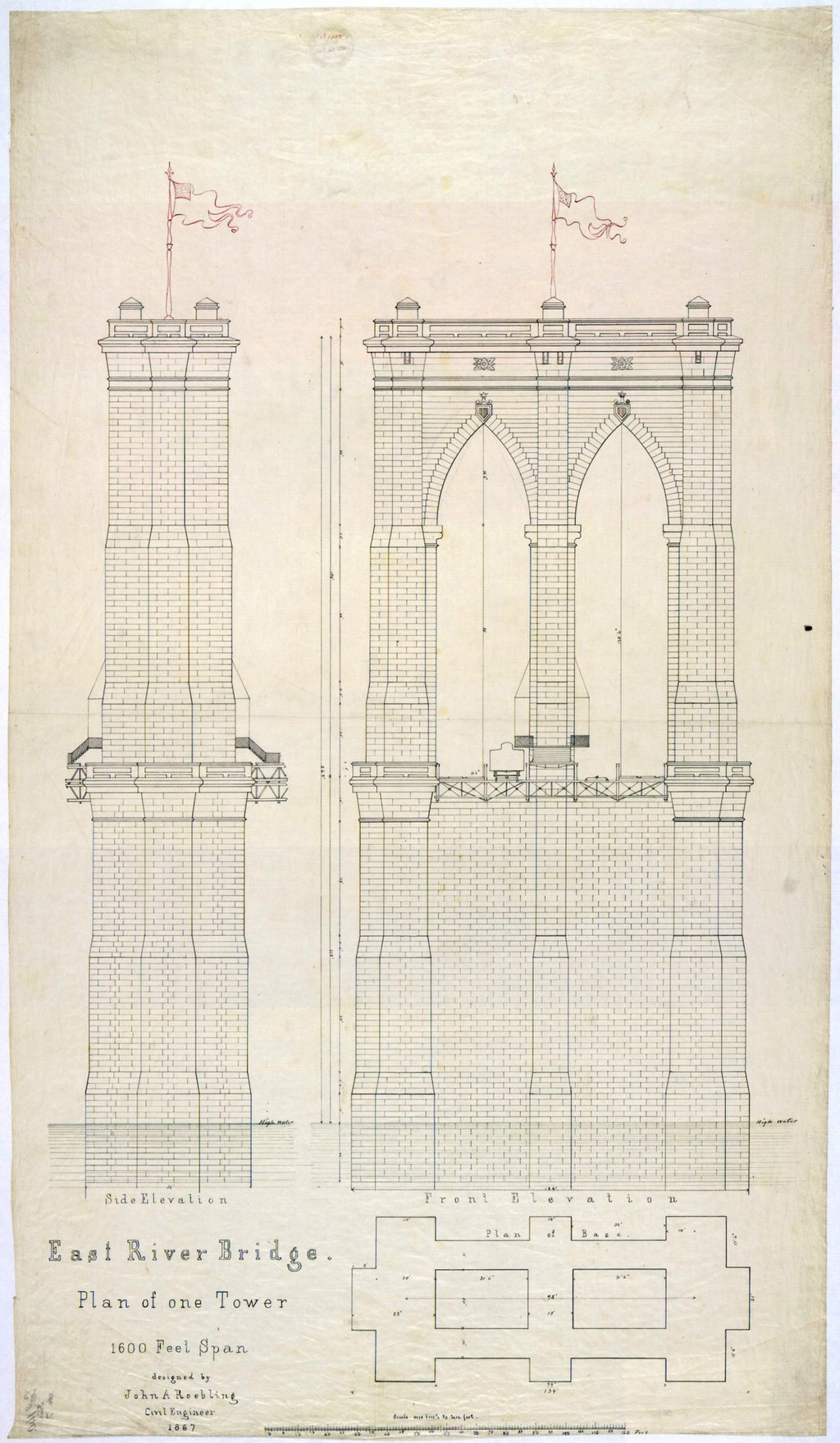 Early plan of one tower for the Brooklyn Bridge, 1867