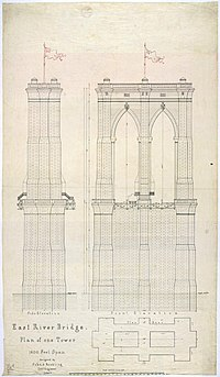 architectural drawings of bridges. Early Plan Of One Tower For The Brooklyn Bridge, 1867 Architectural Drawings Bridges )