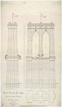 Early plan of one tower for the Brooklyn Bridge, drawn in 1867